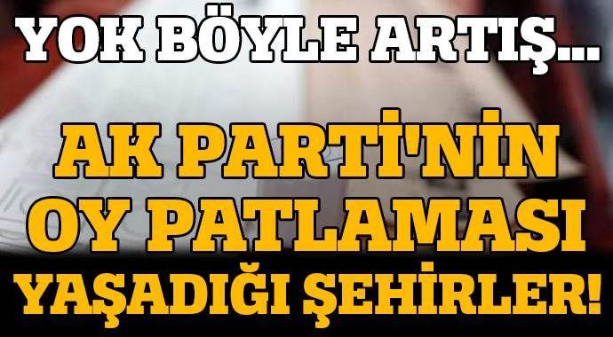 AK Parti'nin oy patlaması gerçekleştirdiği şehirler!