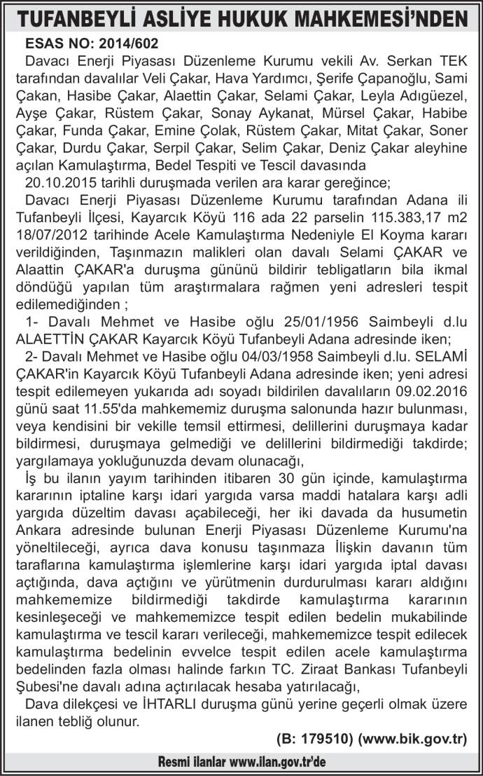 TUFANBEYLİ ASLİYE HUKUK MAHKEMESİ'NDEN