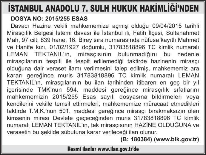 İSTANBUL ANADOLU 7. SULH HUKUK HAKİMLİĞİ'NDEN