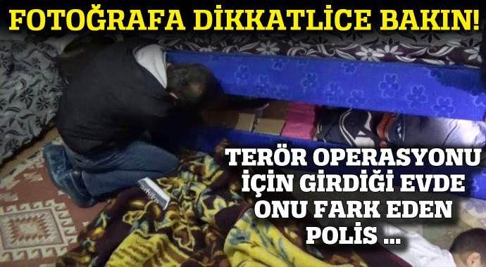 Terör operasyonuna giden polis onu yerde yatarken görünce...