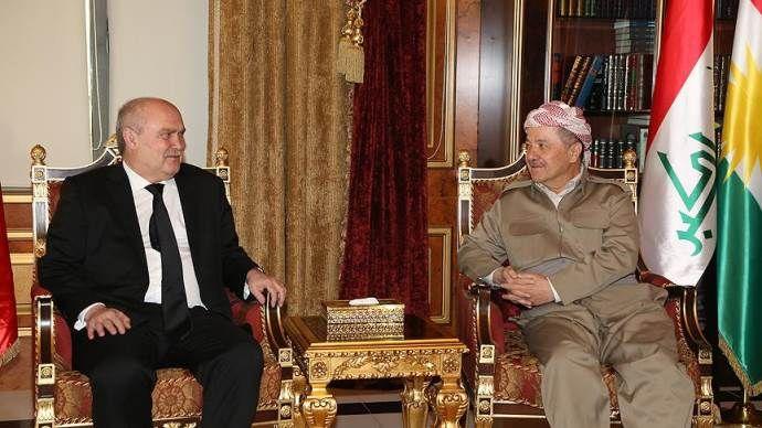 Sinirlioğlu, IKBY Başkanı Barzani'yle bir araya geldi