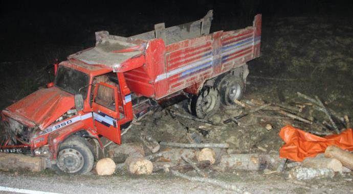 Tomruk yüklü kamyon devrildi: 2 ölü