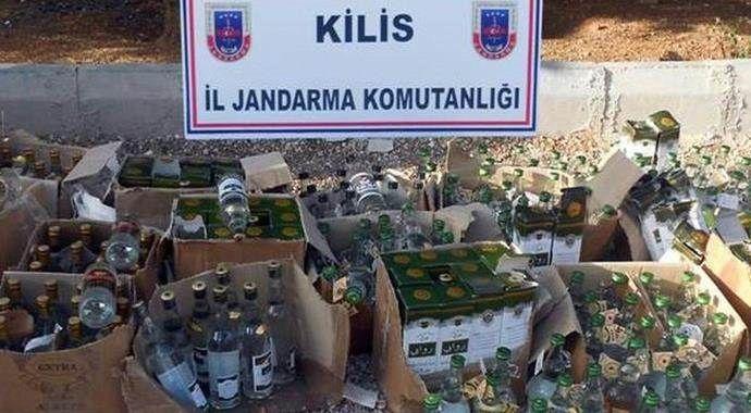 Kilis'te 131 şişe kaçak içki yakalandı