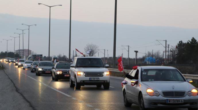 Milli iradeye saygı konvoyu Kapıkule'de