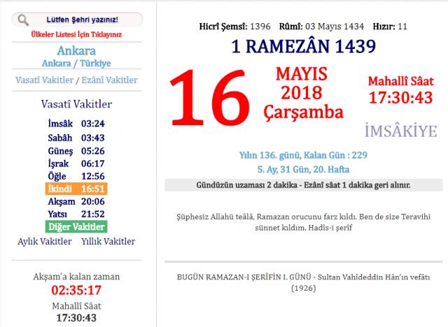 Ankara'da Akşam Ezanı Kaçta Okunuyor?