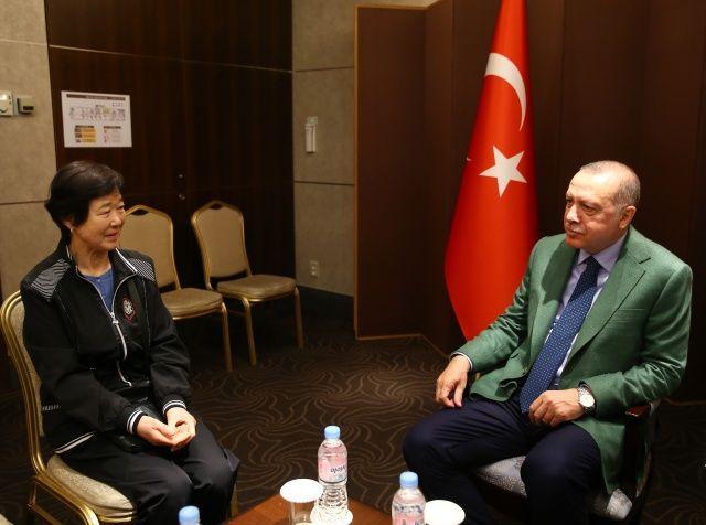 Cumhurbaşkanı Erdoğan'a Seul'de otelde sürpriz karşılama