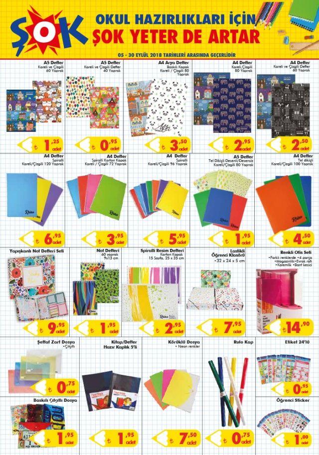 ŞOK 5 Eylül 2018 indirimli ürünler LİSTESİ   ŞOK market aktüel 5 EYLÜL İNDİRİM kataloğunda broşüründe ŞOK 2018 okul malzemeleri