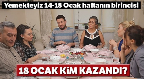 18 Ocak Yemekteyiz kim kazandı? Haftanın birincisi kim oldu? (18 OCAK 2019)