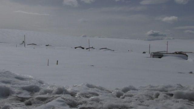 Nisan ayında iş yerleri kar altında kaldı