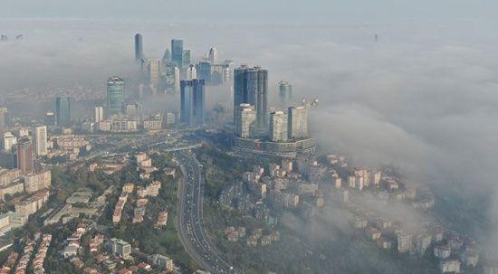 Sis altındaki 15 Temmuz Şehitler Köprüsü havadan görüntülendi