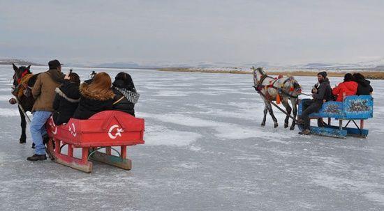 Yüzeyi 25 cm buz tuttu! Atlı kızaklar Çıldır Gölü'ne indi
