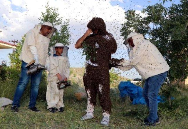 Arı Adam'dan çılgın rekor denemesi! Binlerce arıyı 3 saat boyuncu üzerinde taşıdı