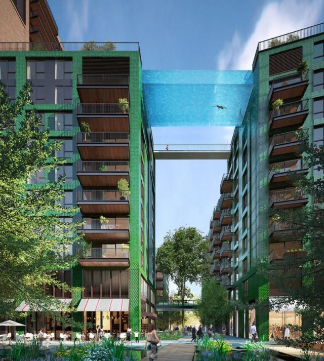 İki apartman arasına çatıda şeffaf yüzme havuzu