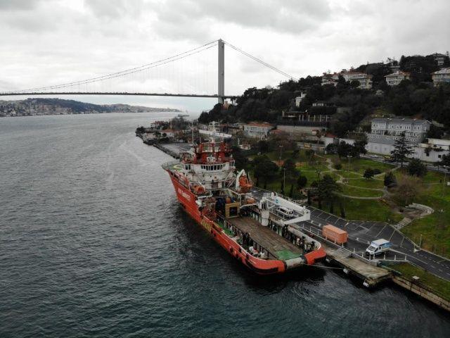 """Türkiye'nin ilk acil müdahale gemisi """"Nene Hatun"""" havadan görüntülendi"""
