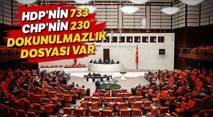 HDP'nin 733, CHP'nin 230 dokunulmazlık dosyası var
