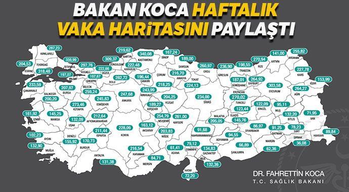 Bakan Koca haftalık vaka haritasını paylaştı