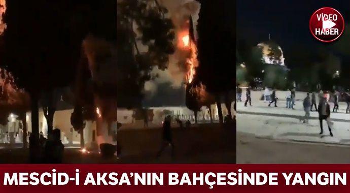 Mescid-i Aksa'nın bahçesinde yangın çıktı
