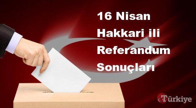 Hakkari 16 Nisan Referandum sonuçları | Hakkari referandumda Evet mi Hayır mı dedi?