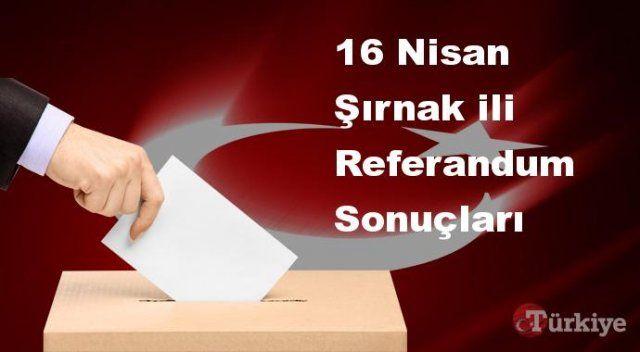 Şırnak 16 Nisan Referandum sonuçları | Şırnak referandumda Evet mi Hayır mı dedi?