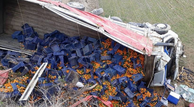 Afyonkarahisar'da mandalina yüklü kamyon devrildi: 2 yaralı