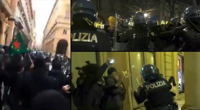 İtalya'da polisler PKK'lıları dövdü