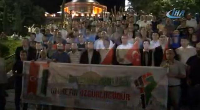 Manisa'da Filistin protestosu