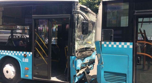 Şişli'de halk otobüsleri çarpıştı: 5 yaralı