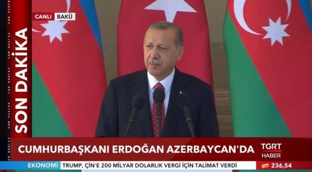 Başkan Erdoğan, Bakü'de Ermenistan'a resti çekti!