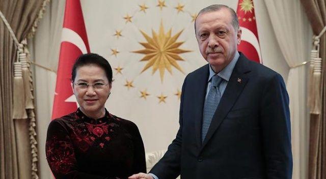 Cumhurbaşkanı Erdoğan, Vietnam Ulusal Meclis Başkanı'nı kabul etti