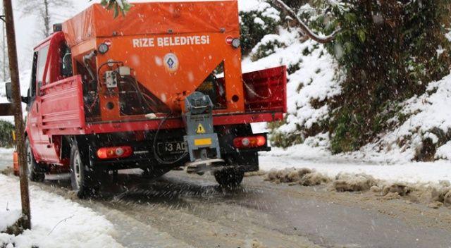 Rize'de karla mücadele çalışmaları