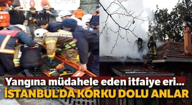 Üsküdar'da yangına müdahale eden itfaiyeci çatıdan düştü