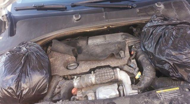 Aracın motor kısmından esrar, fren lambasından eroin çıktı