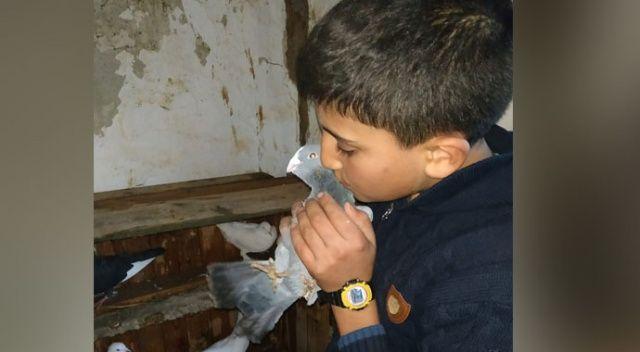 Küçük çocuğun çatıda mahsur kalan güvercinlerini itfaiye kurtardı