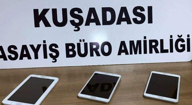 Kuşadası'nda 4 adet tablet çalan 2 şüpheli tutuklandı