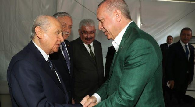 Erdoğan ve Bahçeli miting öncesi bir araya geldi