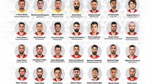 Türkiye A Milli Futbol Takımı aday kadrosu açıklandı