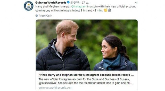 Prens Harry ve Düşes Meghan'ın Instagram hesabı dünya rekoru kırdı