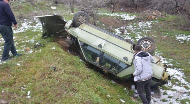 Takla atan otomobil dere yatağına uçtu: 1 yaralı
