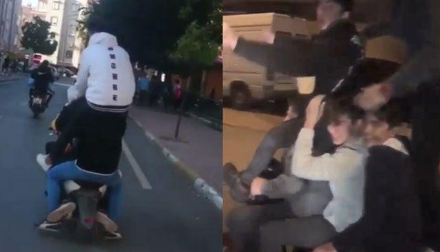 Motosiklete 5 kişi bindiler, sığmayınca birbirlerinin üzerine çıktılar ile ilgili görsel sonucu