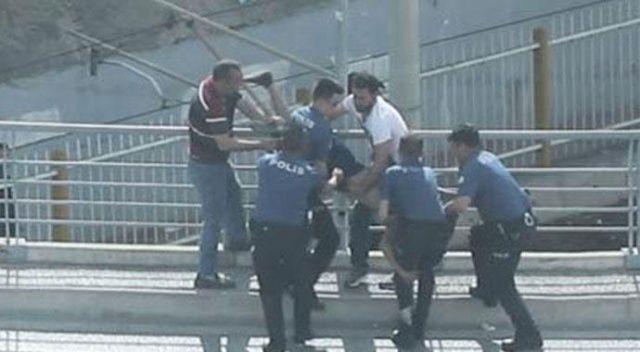 Polisten kaçıyordu... Köprüden atlarken kolundan yakalandı!