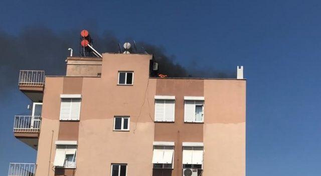 10 katlı apartmanın çatı katında yangın