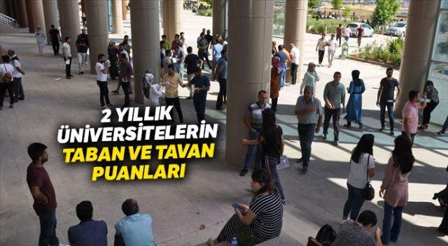2 yıllık Üniversite Taban Tavan Puanları | ÖNLİSANS