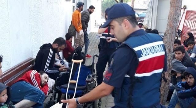 Ayvalık'ta 65 göçmen jandarmadan kaçamadı