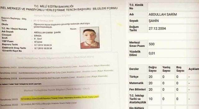 LGS şampiyonu İTO Marmara Anadolu İmam Hatip Lisesini tercih etti