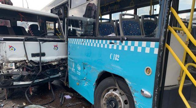 Ümraniye'de vinç, özel halk otobüsüne çarptı: Yaralılar var