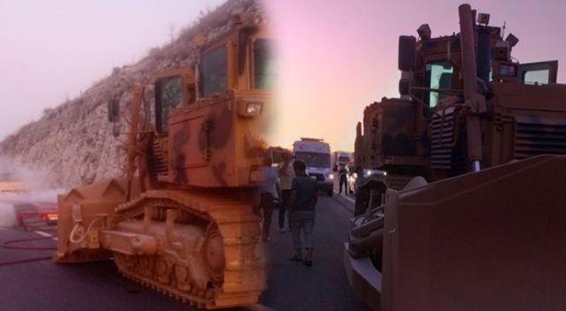 Askeri araç taşıyan tırda yangın