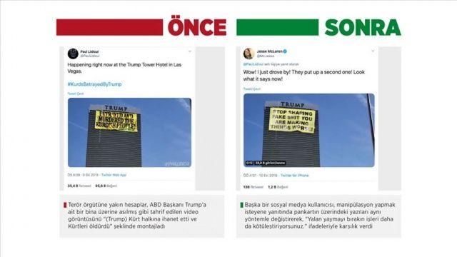 Barış Pınarı Harekatı'nı manipüle etmek için Greenpeace pankartını değiştirdiler