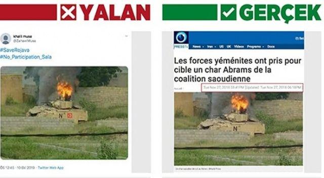 Terör örgütü yandaşlarından Yemen'deki tankın üzerine Türk bayrağı montajı