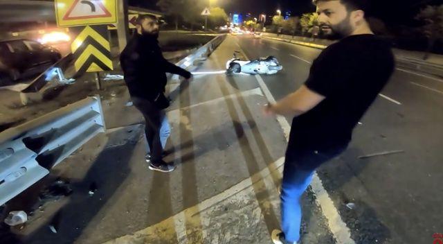 Ünlü Youtuber Hakkı Alkan'ın geçirdiği kaza kamerada