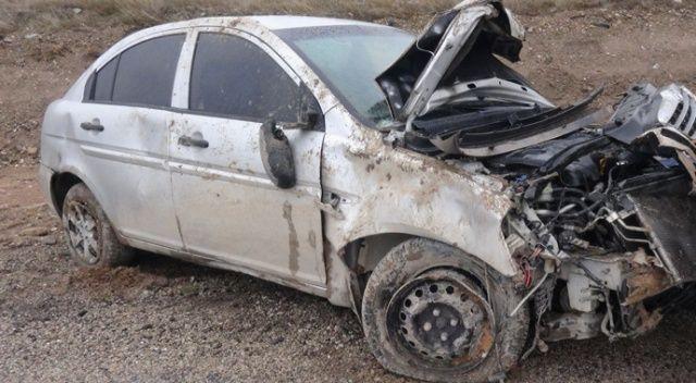 Aksaray'da otomobil devrildi